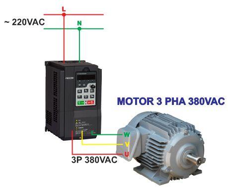 Biến tần vào 1 pha 220V ra 3 pha 380V